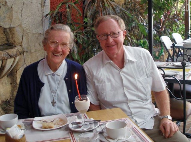 Rev. William Auth (right) sits with Sister Terry Maksym, a nun who first invited Auth to join her working to help people in the Yucatan in 1981.