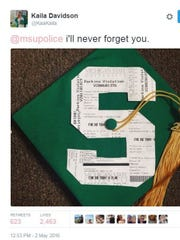 Kaila Davidson's tweet of her parking violation ticket-decorated graduation cap to the Michigan State University Police went viral in 2016.