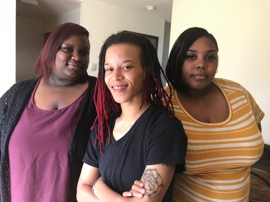 LaMaya McGuire, 22, Jennifer McEwen, 25, and Sasha Collins, 27, all of Lansing, say a Delta Township Denny's ignored racial slurs directed at them by another patron. They are pictured June 27, 2019.
