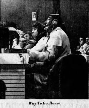 Howard Cosell calls the boxing matches live for ABC Wide World of Sports from inside Marion Correctional Institution on March 6, 1977. The picture ran as part of a photo page in The Marion Star the next day.