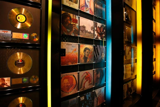 The Stax Museum's Hall of Records displays all but a few of the approximately 300 albums and 800 singles that were recorded at Stax Records, including gold albums and records, from its earliest days as Satellite Records until the company closed in 1975.
