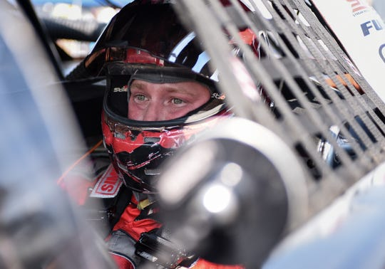 Josh Brock of Corbin, Kentucky, wears a look of determination before qualifying at the Slinger Nationals on Tuesday.