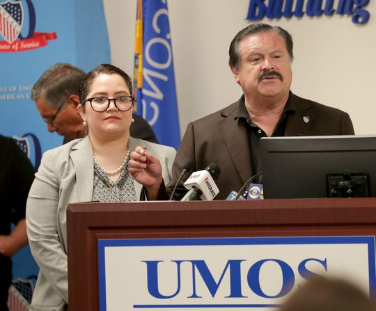 League of United Latin American Citizens President Domingo Garcia, right,  stands with LULAC Chief Executive Officer Sindy Benavides as they answer questions Wednesday during a news conference at UMOS Corporate Headquarters, 2701 S. Chase Ave., to open the LULAC 90th Annual National Convention & Exposition to be held this week at the Milwaukee Convention Center.