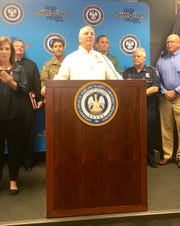 Gov. John Bel Edwards discussing the brewing storm in the Gulf of Mexico during a press conference in Baton Rouge Wednesday morning.