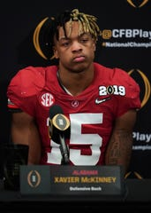 Jan 7, 2019; Santa Clara, CA, USA; Alabama Crimson Tide defensive back Xavier McKinney (15) reacts at a press conference after the 2019 College Football Playoff Championship game against the Clemson Tigers at Levi's Stadium. Mandatory Credit: Kyle Terada-USA TODAY Sports