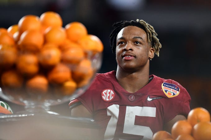 Dec 29, 2018; Miami Gardens, FL, USA; Alabama Crimson Tide defensive back Xavier McKinney (15) reacts after defeating the Oklahoma Sooners in the 2018 Orange Bowl college football playoff semifinal game at Hard Rock Stadium. Mandatory Credit: Jasen Vinlove-USA TODAY Sports