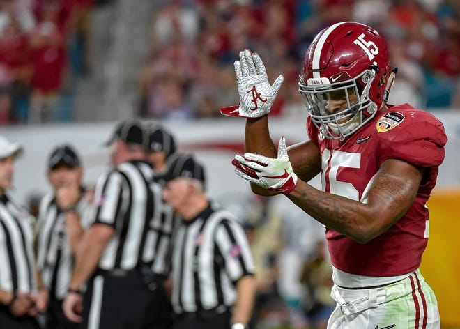 Dec 29, 2018; Miami Gardens, FL, USA; Alabama Crimson Tide defensive back Xavier McKinney (15) reacts against the Oklahoma Sooners in the 2018 Orange Bowl college football playoff semifinal game at Hard Rock Stadium. Mandatory Credit: Steve Mitchell-USA TODAY Sports