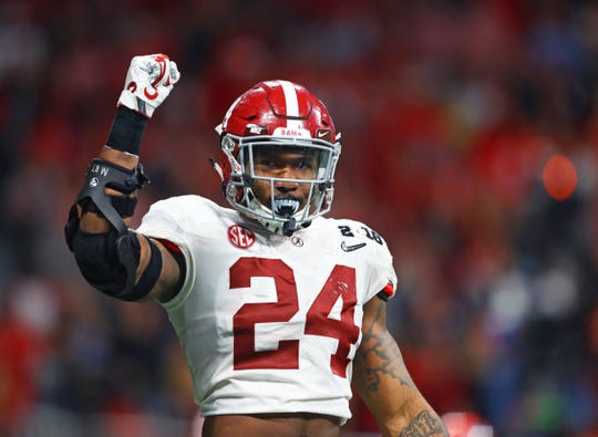 Jan 8, 2018; Atlanta, GA, USA; Alabama Crimson Tide linebacker Terrell Lewis (24) against the Georgia Bulldogs in the 2018 CFP national championship college football game at Mercedes-Benz Stadium. Mandatory Credit: Mark J. Rebilas-USA TODAY Sports