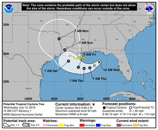 The National Hurricane Center has begun issuing advisories on potential tropical cyclone two.