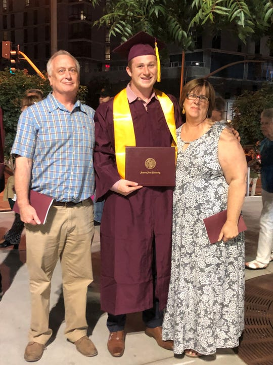 Gage Schrantz is pictured with his parents, Matt and Christine Schrantz, after graduating from Arizona State University.