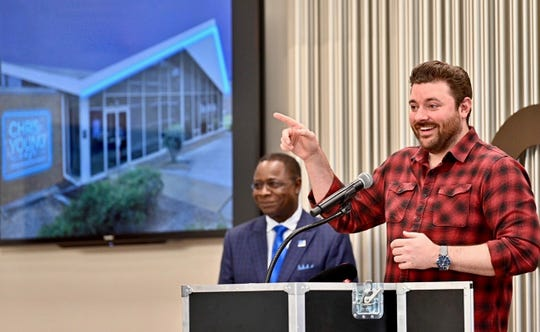 Chris Young helps reveal news of Middle Tennessee State University's forthcoming Chris Young Cafe on Tuesday in Nashville, Tenn.