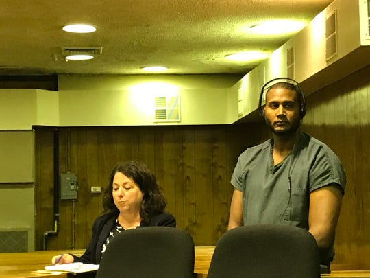 Elisaul Marte with his attorney, Susan McCoy, on Wednesday.
