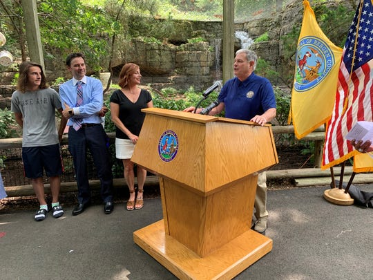 "Bergen County Executive Jim Tedesco, right, named radio personality Danielle Monaro, third from left, a ""Bergen Ambassador."" Next to Monaro is her husband, Sheldon, and son Spencer."