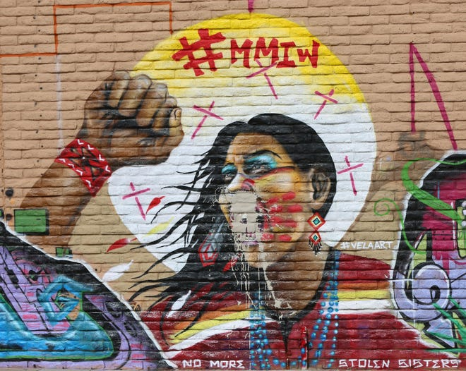 A mural painted on the western wall of the Cruces Creatives building to raise awareness of the issue of missing and murdered indigenous women, was defaced sometime July 8 or 9, 2019.