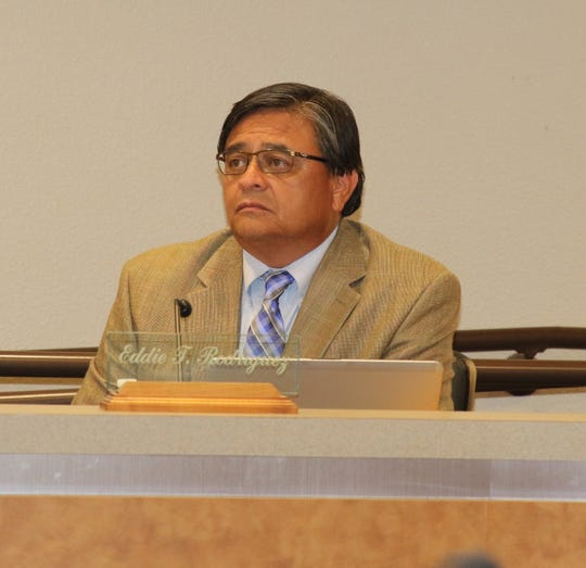 Ward 1 Carlsbad City Councilor Edward Rodriguez listens to a presentation during a July 9 meeting.