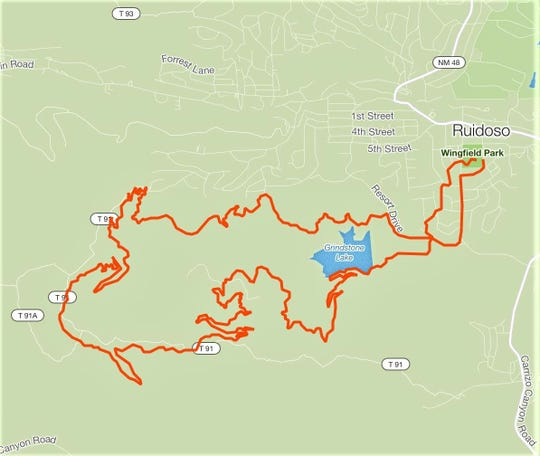 The Grindstone Trails route begins at Wingfield Park in Ruidoso.