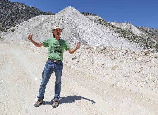 Biologist Tom Egan talks about the White Knob Mine in Lucerne Valley, Calif., on June 19, 2019.