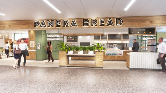Rendering of the front of the proposed Panera restaurant at Phoenix Mesa-Gateway airport. It would offer people the chance to order in person, through a kiosk or through their mobile phones.