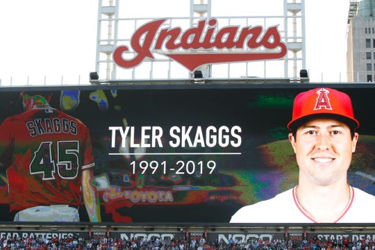 Jul 9, 2019: Los Angeles Angles player Tyler Skaggs is remembered during a moment of silence prior to the 2019 MLB All Star Game at Progressive Field.