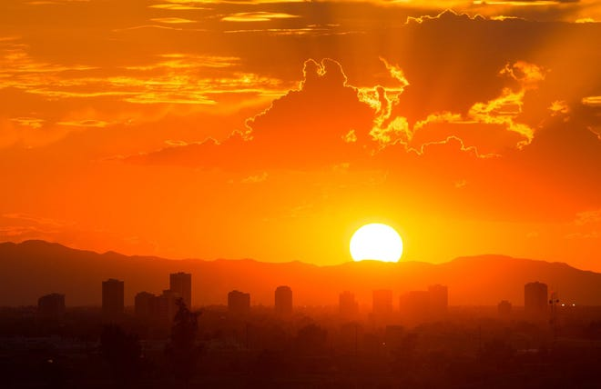 A shot of downtown Phoenix during the summer.