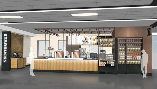 Rendering of the proposed Starbucks at Phoenix-Mesa Gateway Airport.