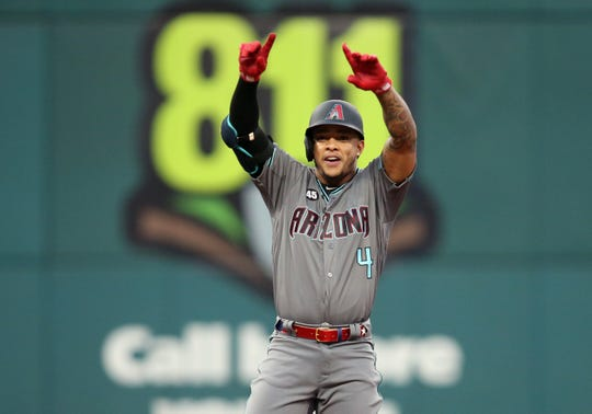 Ketel Marte reacts after his double in the third inning of the All-Star Game on Tuesday.