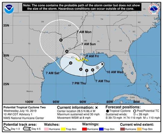 Imagen cedida por el NHC donde se muestra el pronóstico de cinco días en la costa del Golfo de México.