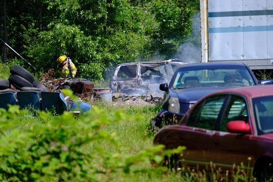 Firefighters responded to a vehicle fire about 11 a.m. Wednesday near Cleveland and 32nd streets.