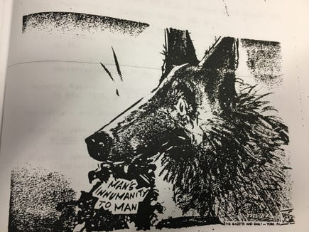 This editorial cartoon captures the role of the York Police's K-9 Corps in catalyzing the race riots in the late 1960s. Walt Partymiller drew this cartoon and scores of others in a long career as The Gazette and Daily's cartoonist.