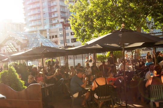 The terrace along the Truckee River at Wild River Grille ranks among Reno's most popular restaurant spots for al fresco dining.