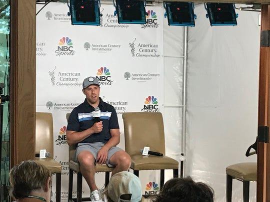 Joe Pavelski talks to the media Wednesday at Edgewood-Tahoe.