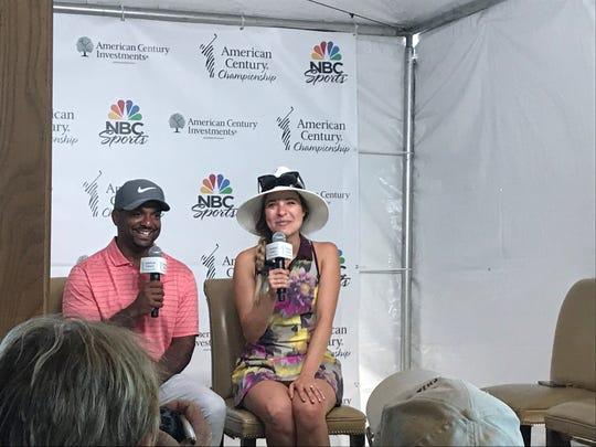 Kira Kazantsez and Alfonso Ribeiro talk at a press conference Wednesday at Edgewood Tahoe.