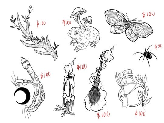 Little Bird Tattoo is having a  Baba Yaga flash sale in which half of the proceeds will go to covering expenses for the relocation of the installation. Pictured are a few of the tattoo options.