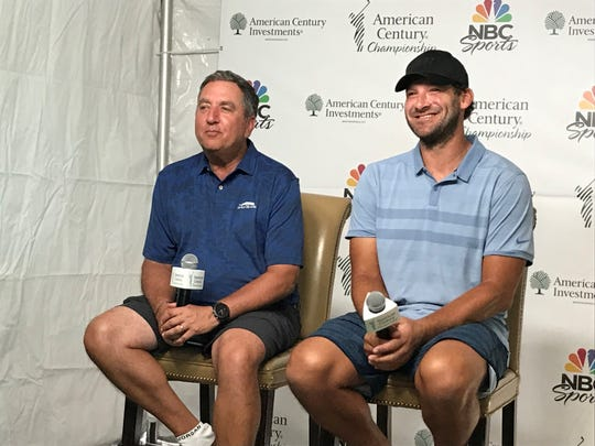 Jon Miller, left, and Tony Romo speak the media at Wednesday's press conference at Edgewood Tahoe.