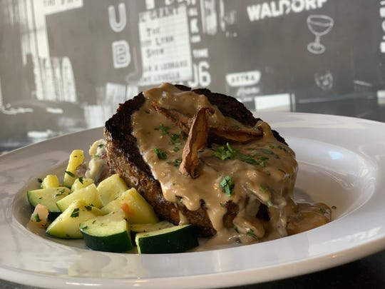 Signature meatloaf at Wild River Grille is fashioned from ground beef, Italian sausage and mushroom ragoût.