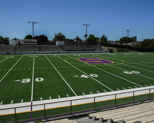 The new turf project at the Pit at Salinas High is almost complete pending inspection from Salinas Union High School District officials.