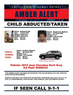 California Highway Patrol issued an Amber Alert Wednesday for 1-year-old Namaste Dix. July 10, 2019.