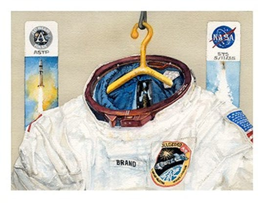 """Brand's Apollo Soyuz Test Project Suit"" by Ron Woods."
