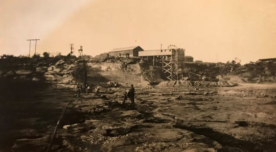 The headworks for excavation operations at Lake Nasworthy in San Angelo is seen in this photograph from 1929. The project provided the first long-term fresh water supply for West Texas Utilities.