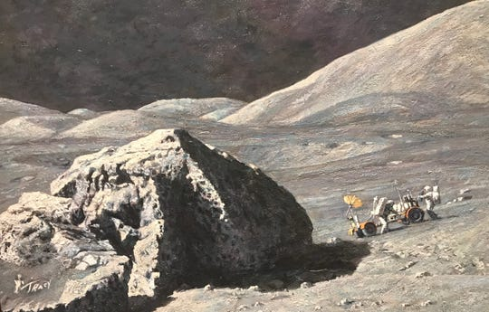 """Tracy's Boulder"" 1984 by Alan Bean will be the centerpiece of the San Angelo Museum of Fine Arts' Apollo moon landing exhibit."