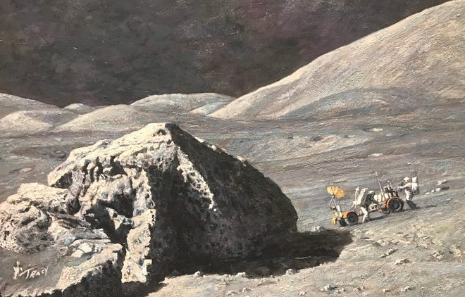 """""""Tracy's Boulder"""" 1984 by Alan Bean will be the centerpiece of the San Angelo Museum of Fine Arts' Apollo moon landing exhibit."""