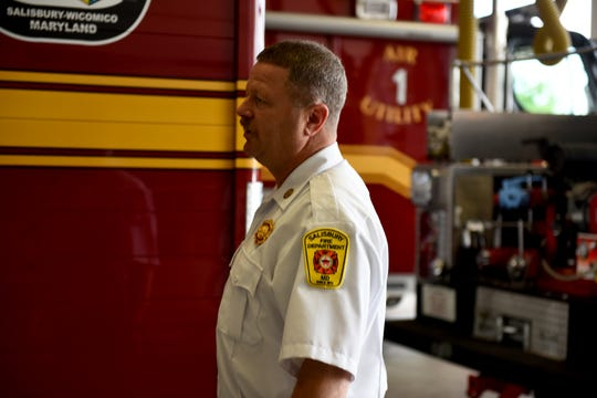 Deputy Chief James Gladwell, 52, speaks to fellow Salisbury Fire Department officers heading into the fire house in Salisbury, Maryland, on Tuesday, June 11, 2019. The Salisbury native has put about 28 years in the fire service.