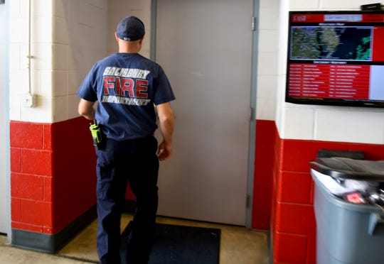 EMS Captain Chris Truitt heads into the fire house in Salisbury, Maryland, on Tuesday, June 11, 2019. Truitt also works as a Critical Incident Stress Management Team at the Salisbury Fire Department.