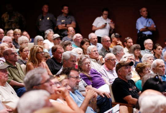 A large crowd packed the auditorium at the Springfield Conservation Nature Center for a presentation by the Missouri Department of Conservation on Missouri's black bear population on Tuesday, July 10, 2019.