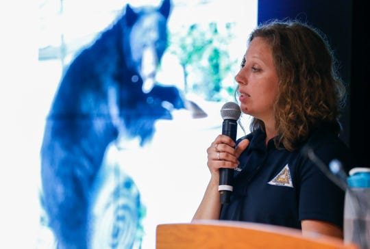 Laura Conlee, a bear research expert with the Missouri Department of Conservation, gave a presentation on Missouri's black bear population at the Springfield Conservation Nature Center on Tuesday, July 10, 2019.