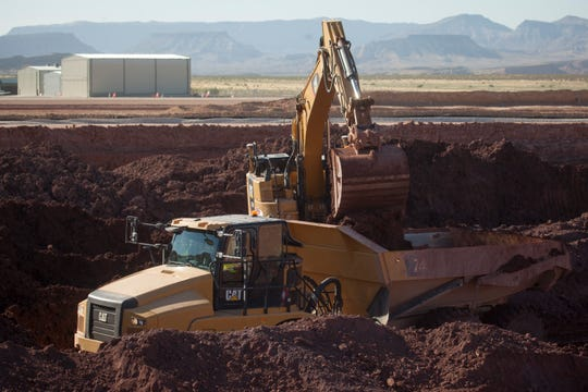 Crews from JP Excavating replace the runway at the St. George Regional Airport Wednesday, July 10, 2019.