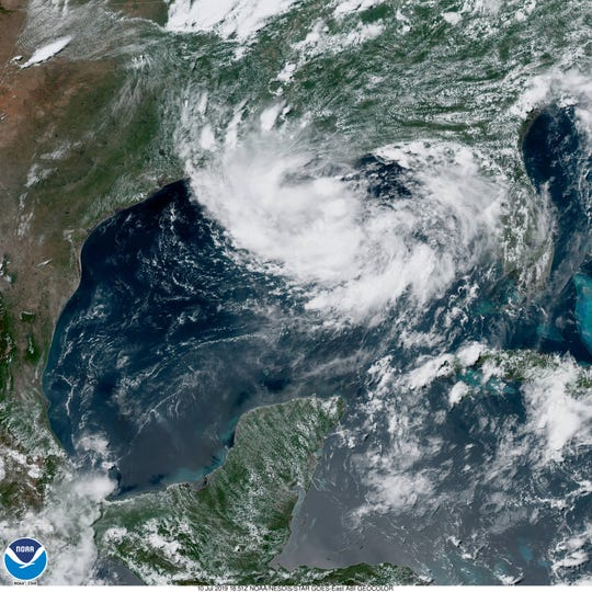 A GOES satellite view of the storm that will almost certainly become Tropical Storm Barry.