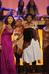"Aida (Indya Lincicome) and Nehebka (Sydney McCray) in the Leon Performing Arts multi-school summer production of ""Aida."""