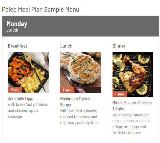 Here's a Paleo Meal Plan sample menu for one day provided by Farm To Fork Meals. The Fort-Lauderdale based company is starting its first expansion site in Frenchtown.