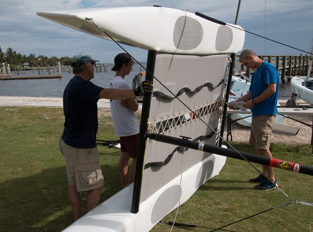 Job well done: Martin County Sailing Center volunteers assemble six